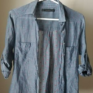 Zara Blue Dotted Button-Down Shirt -EUC