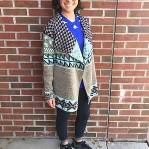 Mint and navy waterfall cardigan