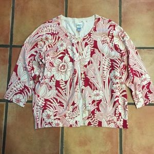 Chico's floral print silk blend cardigan size 3