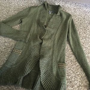 BKE Open cardigan Army green Studded Pockets
