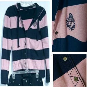 NWOT Hooded PINK & BLUE Hilfiger sweatshirt.