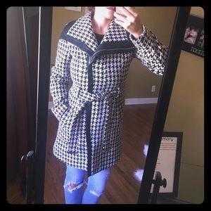Calvin Klein Houndstooth Pea Coat
