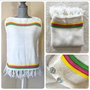 Vintage 60's sleeveless white rainbow sweater, S/M