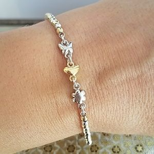 Jewelry - Yellow and white Gold Butterfly Heart Bracelet