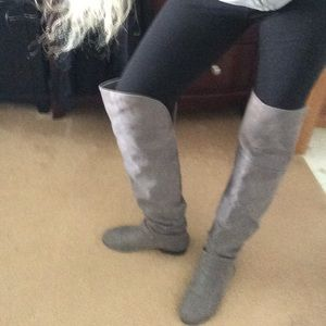 "Over the Knee Boots in Grey with 3/4"" Heel"