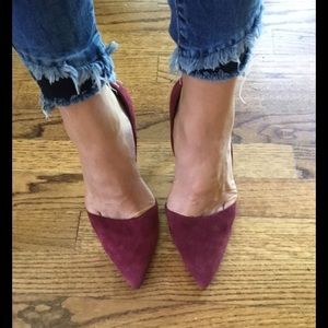 Wine Burgundy Suede D'Orsay Pumps, Great Condition
