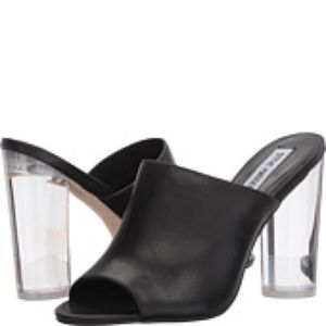 Steve Madden Lucite Heel Leather Mule Sandals