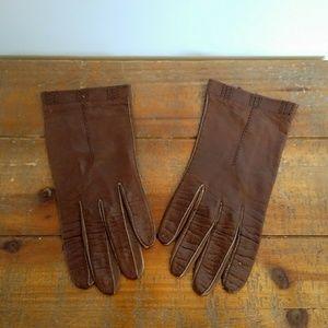 Vintage Kid Leather Short Gloves