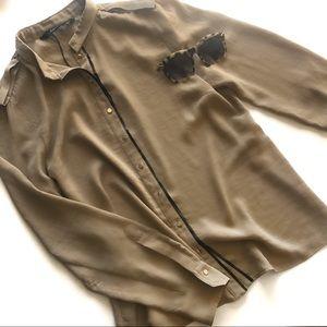NWOT • Zara • Leatherette & Gold Button Blouse