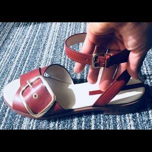 ZARA Brown Sandals w/ Ankle Strap & Gold Buckle