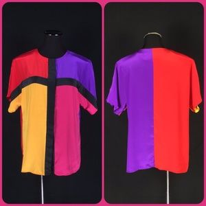80s Primary Color Block Over-sized New Wave Blouse