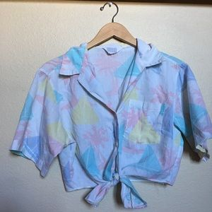 Vintage Cropped Tie Front Button Up