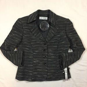 Tahari Arthur S. Levine black white jacket 8 NWT