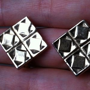 Geometric Bergere Vtg Gold 80s Cubic Clip Earrings
