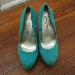Jessica Simpson turquoise heels