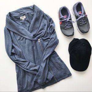 •LOU & GREY• Blue/Grey Asymmetrical Zip Up Jacket