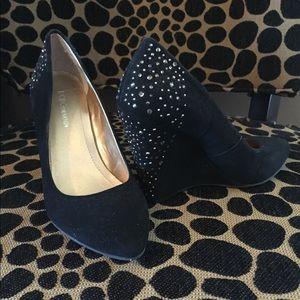 *BCBG faux suede wedge sparkle heels!