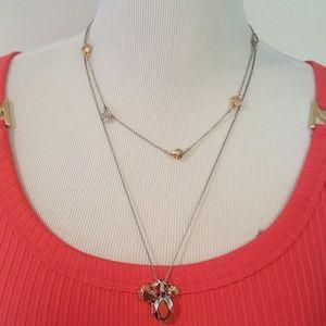 New Daisy Rivet Heart Locket Layered Necklace