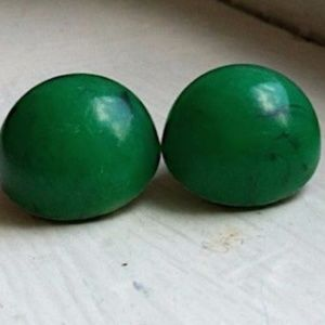 Lucite Green Vtg Bergere Dome Earrings