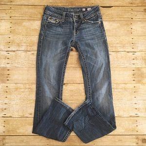 Miss Me bootcut rhinestone pocket jeans, size 27