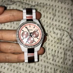 Women's White Plastic/Rose Gold Fossil Watch
