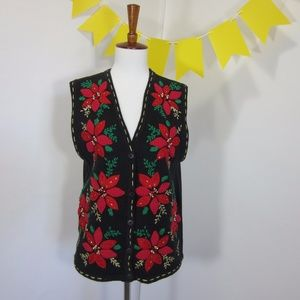 Ugly Christmas Sweater Vest Poinsettia *MM24