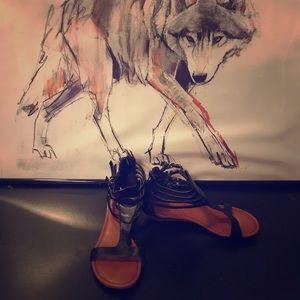 Black Gladiator Style Mini Wedge Sandals