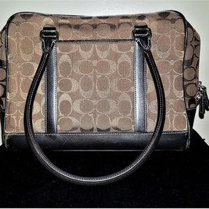 Coach Signature Brown Jacquard Leather Handbag