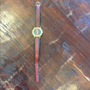 Vintage Gucci gold red & green watch 80s preppy