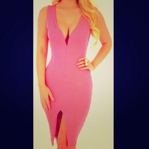 New Bright Neon Barbie Pink Cutout Midi Dress S