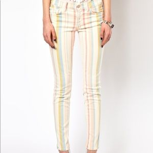 J Brand Skinny Leg Pastel Candy Stripe Pants