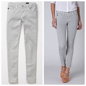 AG the Stevie Ankle Jeans in Gray Polka Dot