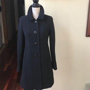 J. Crew Black Double Cloth Day Coat Petite 4 Wool