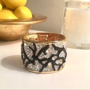 Kenneth Jay Lane large gold hinged bracelet