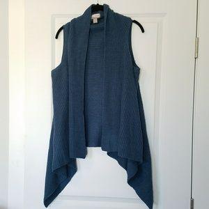 Teal Forever 21 sweater asymmetrical vest