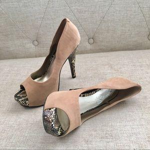 Jessica Simpson Tan Suede Platform Heels