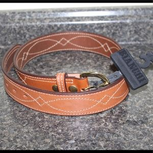 Bianchi Fancy Stitched Belt Size 32 Tan