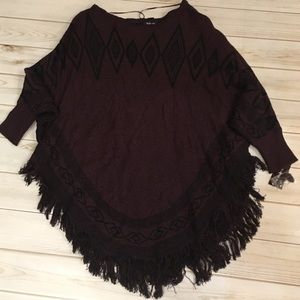 Women's L/XL Burgundy and black Style & Co. Poncho