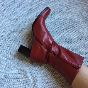 Vintage Red Leather Boots