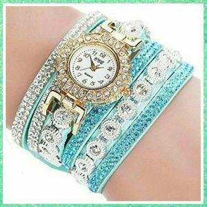 Mint Rhinestone Wrap Wristband Watch Bracelet