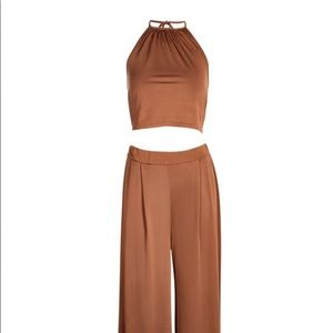 Wide leg trouser and crop top