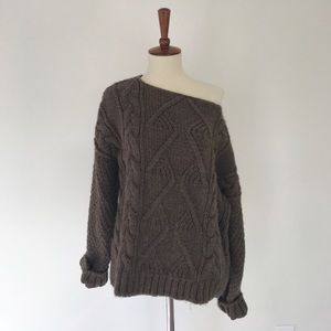 Zara Knit, M, Heathered Brown Cable Knit Sweater