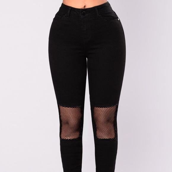 new release top-rated professional buy real High Rise Cut Out Fishnet Knee jeans Boutique