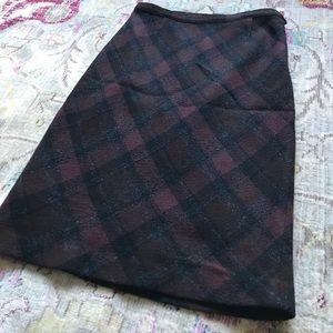 BCBG wool blend plaid skirt size 4