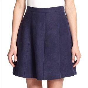 Joie Loudivine Navy Blue Pleated Linen Skirt XS