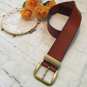 Brown & Brass Thick Leather Elastic Waist Belt