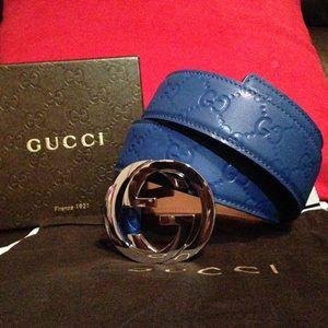 Blue Guccissima Gucci belt fits 30-40 men