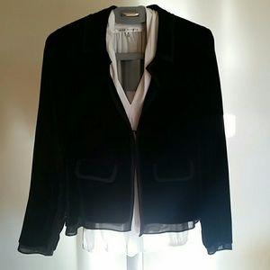 Velvet Jacket Silk Organza Trim