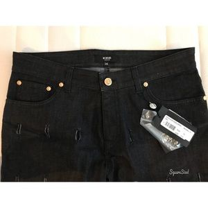 Versace black distressed denim