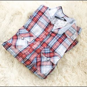 ZARA long sleeve plaid button down